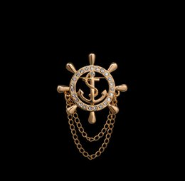 Wholesale anchor lapel pins online shopping - Brand Elegant Gold Unisex Anchor Cruises Brooches For Women Men Fine Jewelry Accessories Crystal Man Lapel Pin Bijoux