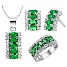 Light Green Jewelry Sets NZ - 925 silver plated NEW custom-made necklace earring ring Jewelry Sets suit high-end European and American pop long I crystal diamond suit