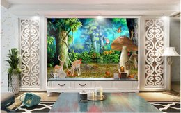 Mushroom Pictures Canada - 3d wallpaper custom photo Non-woven mural Dream forest mushroom plum deer decoration painting picture 3d wall muals wall paper for walls 3 d