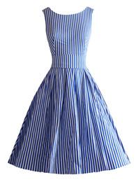 d112686ea7 Black Knee Length Skater Dress Canada - Free shipping Women 1950s  Rockabilly Vintage Audrey Strips Swing