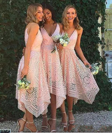 v neck asymmetrical wedding dress 2020 - Dark Navy Pink Asymmetrical Lace Bridesmaid Dresses Boho Wedding Guest Dresses Party Dress V Neck Spaghetti Bridesmaid G