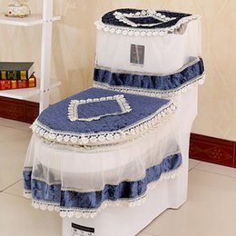 high grade lace threepiece set toilet seat cover ushaped overcoat wc cover home decor bathroom toilet mats closestool merletto