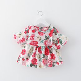 White red boW dress for baby online shopping - Summer Baby Kids Girl s Floral Dresses Short Sleeve Dress Cotton Flower Printed Suit for Years Old