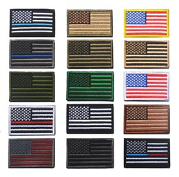 Barato Tecidos De Apliques-US Flag Tactical militar Patches Gold Border Bandeira americana Ferro sobre remendos Applique Jeans Fabric Sticker Parches