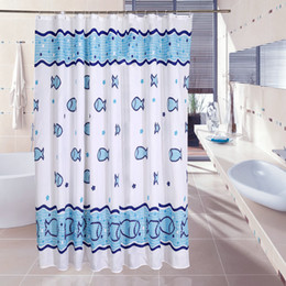 waterproof shower curtain 100 polyester mildew thick bathroom curtains fish pattern with hooks free print wholesale lj007