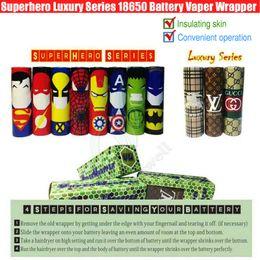 Vapor mod skins online shopping - Superhero Luxury Series Battery vaper wrapper vapor mods Captain America PVC Skin Sleeve vaporizer e cigs Heat Shrink Re wrapped DHL