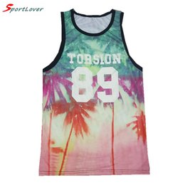 Barato Tanques De Mens Plus Size-Atacado- Sportlover Summer Style Fashion Tanks For Mens Boys Weeds / Coconut Tree Beach Printed Men Tank Top 3d Graphic Vest Plus Size XXL