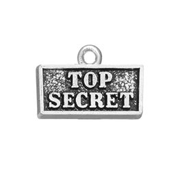 Discount double top plate - Vintage Silver Message Top Secret Double Sided Engraved Tag DIY Charm Jewelry