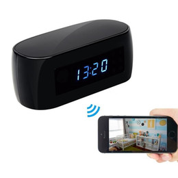Wholesale FULL HD P H2 Wireless Wifi Clock Camera with Night Vision CLOCK P2P IP Camera Home Security Surveillance Camcorder Baby Monitor