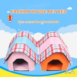 Puppies Beds Canada - Fashion pet house foldable orange pink lattice cat house bed summer puppy dog beds for small dogs