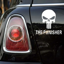 $enCountryForm.capitalKeyWord Canada - 14 x 13CM Creative The punisher Skull Car Styling Sticker Decal Decoration Automotive Scratch Car Cover Stickers black or white