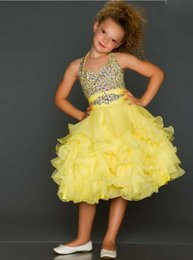 Barato Vestido Curto De Haltere Amarelo-Lovely Fuchsia Chiffon Halter Beads Short Flower Girl Vestidos Princess Pageant Vestidos Girl Party Dresses Custom Made 2-14 F523045