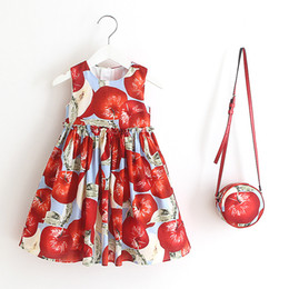 China Girl Apple Pineapple Ice Cream Print Dress With Bag Princess Summer Cotton Cute Clothing 2017 New Holiday Party Dresses suppliers