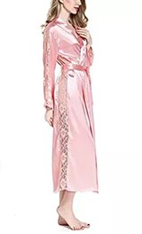 Wholesale satin bathrobes for women online – 2017 Sexy Lace Trim Satin Kimono Robes Bridesmaid Bathrobe Long Nightgown Sleepwear Dressing Gown For Women colors available