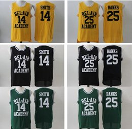 46d0545065bd The Fresh Prince of Bel-Air Academy  14 Will Smith Jersey Wholesale Cheap  Mens Black Green Yellow Bel-Air 25 Carlton Banks Basketball Jersey