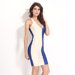 Barato Costura Cor Pescoço-Sexy Double Color Stitching Vest Type Low-cut Boo V-neck Slim Dress