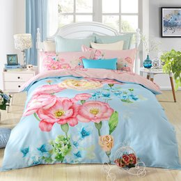 $enCountryForm.capitalKeyWord Canada - soft cotton designs 40*40 133*72 reactive print bed sheet bed linen four pieces bedding set ,flower strip cartoon designs red blue pink beil