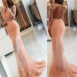 Open back evening dresses high neck online shopping - Mermaid Bateau Open Back Pearl Pink Tulle Prom Dress with Appliques Sleeves Applique Lace Mermaid Evening Dress Formal Dress