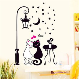 butterfly wall lamp UK - Cat Wall Sticker For Kids Room Lamp Butterflies Stickers Decor Decals Removable Cartoon lovely Birthday Wedding Christmas Party Decoration