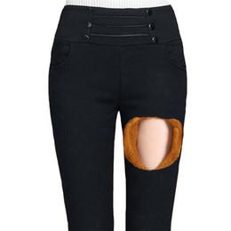 a4f1c79466f06 Women Velvet Leggings Winter Slim Skinny High Waist Trousers Pocket Thick  Plus Size Legging Ladies Button Black Pants
