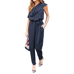 Barato Macacão Feminino Macacão-Chiffon Rompers Womens Jumpsuit Bela Ruffles Sigle Ombro Overalls Mulheres Longas Calças Loose Casual Ladies Summer Romper