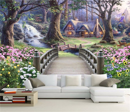 paper house small 2019 - Fantasy Forest Wonderland 3d 3d frescoes sofa living room TV background wallpaper small bridge flowing water seamless wa