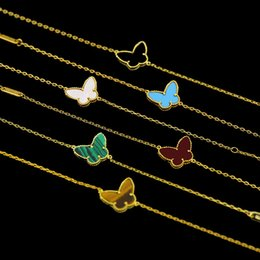 Clawed stones online shopping - High Quality New k Gold Plated Four Leaf Clover Flower And Butterfly Women Bracelet Shell Stone For Gift