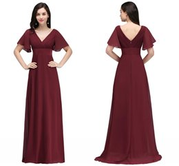 China 2018 New Burgundy Chiffon Designer Bridesmaid Dresses V Neck Short Sleeves A Line Maid Of Honor Gowns Cheap Designer Wedding Dresses CPS715 cheap line chiffon illusion strap wedding dress suppliers