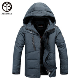 duck down feather jacket UK - Wholesale- asesmay winter jacket men 2016 brand clothing parka men thick down jacket men coat winter jacket feather winter parka