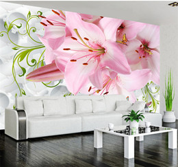 romantic pink lily flowers photo mural for bedroom living room tv sofa background wall simple home decor customize 3d wallpaper
