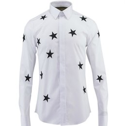 $enCountryForm.capitalKeyWord Canada - Cotton White Shirts Brand Men's Casual Clothes Red Star Printing Tide Tailoring Draping Long Sleeves Dress Shirt for Men