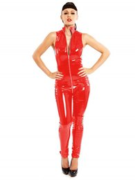 Barato Catsuit Preto Com Zíper-Black Red Sleeveless Sexy Shiny Catsuit Mulheres PVC Jumpsuit Zipper To Crotch Catwoman Cosplay Costume Punk Night Party Clubwear