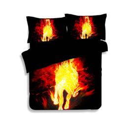horse bedding sets full size 2019 - Fire Horse Printing Bedding Sets Twin Full Queen King Size Fabric Cotton Bedclothes Bedspreads Duvet Cover Set Pillow Sh