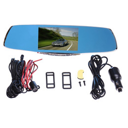 Cycled Recording Cameras NZ - Double Camera Rearview Mirror Dash Cam Dashcam Driving Record 5 Inch Blue Mirror G-Sensor PZ912 CAR DVR H.264 Cycle Recording