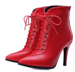 Boots Warm Up Canada - Wholesale New Arrival Hot Sale Specials Super Influx Warm Noble Martin Leather Tide Pointed Lace Up Party Heels Ankle Boots EU34-43