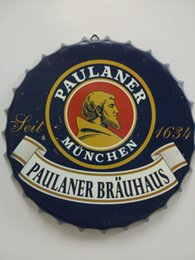 Tin signs round online shopping - Paulaner Brauhaus Vintage round tin sign bottle cap design beer cap Beer Metal bar poster metal craft for home bar restaurant coffe shop