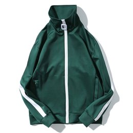 $enCountryForm.capitalKeyWord Canada - Vintage Color Block Stripe Track Jackets Coats 2017 New Zip Up Turtleneck Coat Casual Zipper Pockets Jacket Black Green