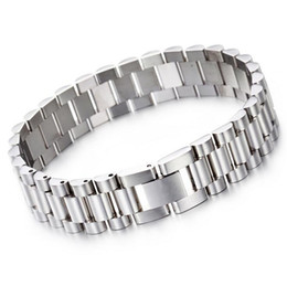 China Top Quality 15mm * 22CM Luxury Mens Womens Watch Band Bracelet Gold Silver 316L Stainless Steel Strap Cuff Bangles Jewelry Gifts suppliers