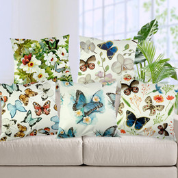 $enCountryForm.capitalKeyWord Canada - Spandex Butterfly Printed Pillow Cases Emoji Cushion Covers 45*45CM Korean Style Cushion Cover Butterflies Pillow Case Gift Home Textiles
