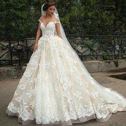 Sheer Neck Cap Sleeve Ball Gown Lace Wedding Dresses Appliques Floor Length Gowns Custom Made Bridal Greek Bride Dress