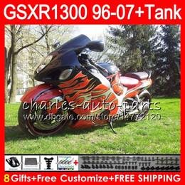 8Gifts 23Colors For SUZUKI Hayabusa Orange Black GSXR1300 96 97 98 99 00 01 15HM14 GSXR 1300 GSX R1300 02 03 04 05 06 07 Fairing