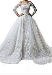 Red dResses detachable online shopping - Vintage Bateau Neck Lace Long Sleeve Wedding Dresses With Detachable Skirt Plus Size Illusion Train vestido de noiva Bridal Gown Ball