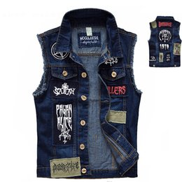 Barato Coletes De Punk Para Homens-Vintage Men's Jeans Vest Manga sem mangas Fashion Patch Designs Punk Rock Style Ripped Cowboy Frayed Denim Vest Tanques