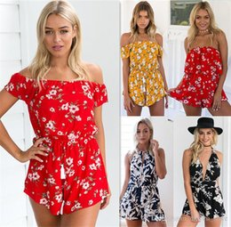 Barato Macacões Brancos-Floral Clothes Ruffles Playsuits Mulheres Elegant Autumn White V Neck Jumpsuits Rompers Sexy Beach Girls Short Overalls
