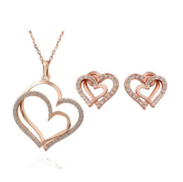 top china wholesale fashion jewelry Australia - Fashion Crystal Heart Jewelry Sets Top Quality 2 Colors Women Best Necklace Earrings Jewelry Gift 183