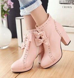 Hot Pink High Heel Ankle Boots Canada - Wholesale New Arrival Hot Sale Specials Super Fashion Influx Martin Snow Warm Bow Elegant Carve Pattern Winter Heels Ankle Boots EU34-43
