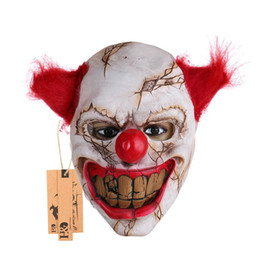 Fantômes Gros Pas Cher-Grossiste-Scary Clown Latex Masque Big Mouth Red Hair Nose Cosplay Full Face Horreur Masquerade Adult Ghost Party Mask pour Halloween Props