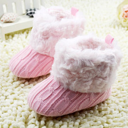 Crochet Baby Snow Booties Australia - Infant Baby Crochet Knit Boots Booties Toddler Girl Winter Snow Crib Shoes