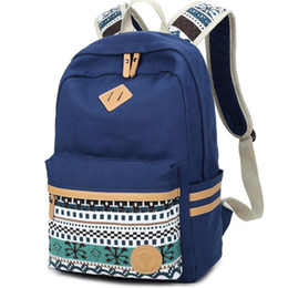 Chinese  Wholesale- Ethnic Women Backpack for School Teenagers Girls Vintage Stylish School Bag Ladies Canvas Backpack Female Back Pack High Quality manufacturers