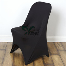 wedding chair cover prices UK - Facotory Price Folding Lycra Spandex Chair Cover Wedding Party Hotel Decoration